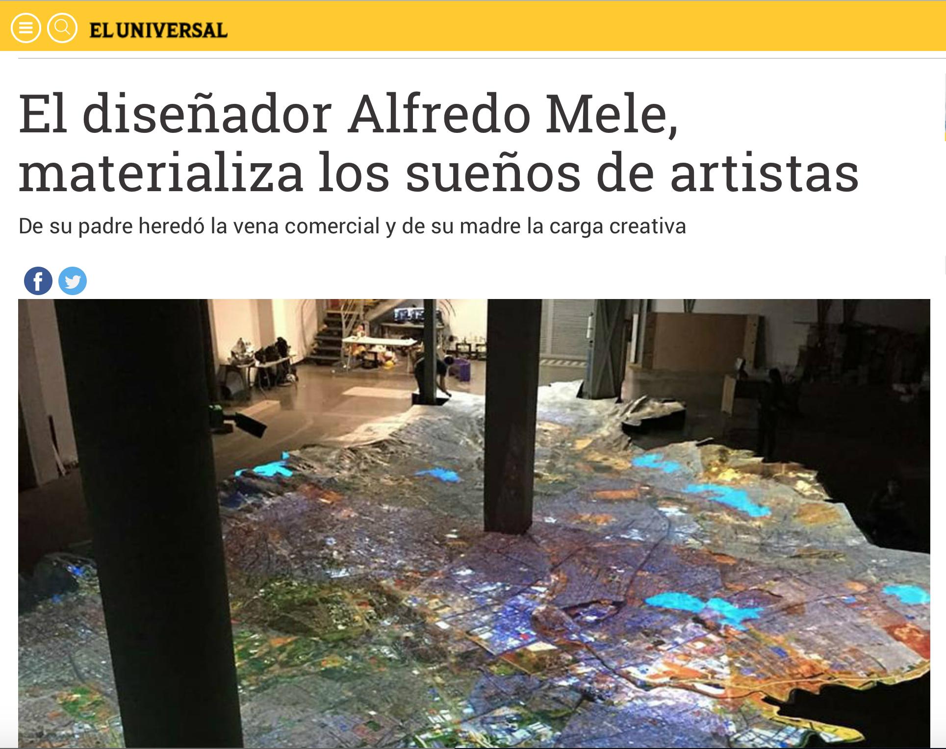 """""""El diseñador Alfredo Mele, materializa los sueños de artistas"""""""
